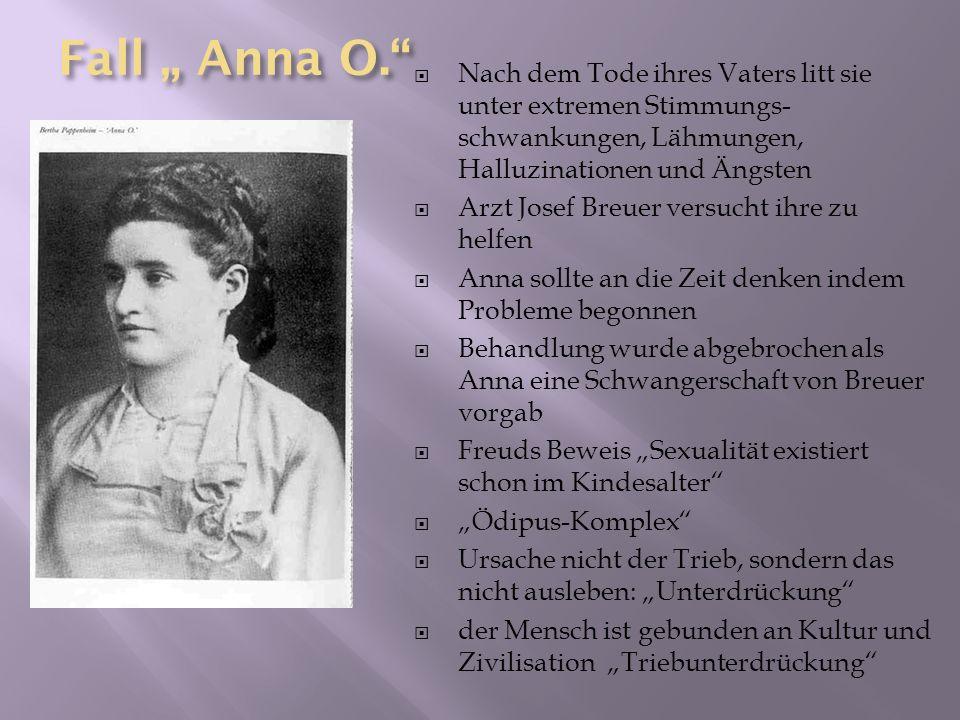 """Fall """" Anna O. Nach dem Tode ihres Vaters litt sie unter extremen Stimmungs-schwankungen, Lähmungen, Halluzinationen und Ängsten."""