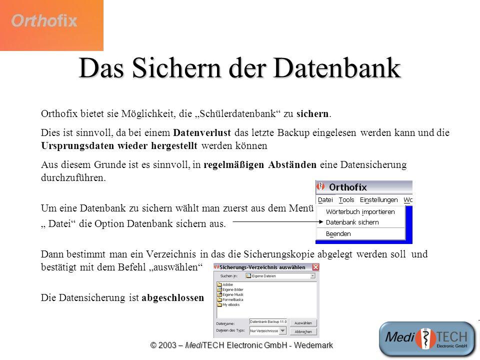 Das Sichern der Datenbank