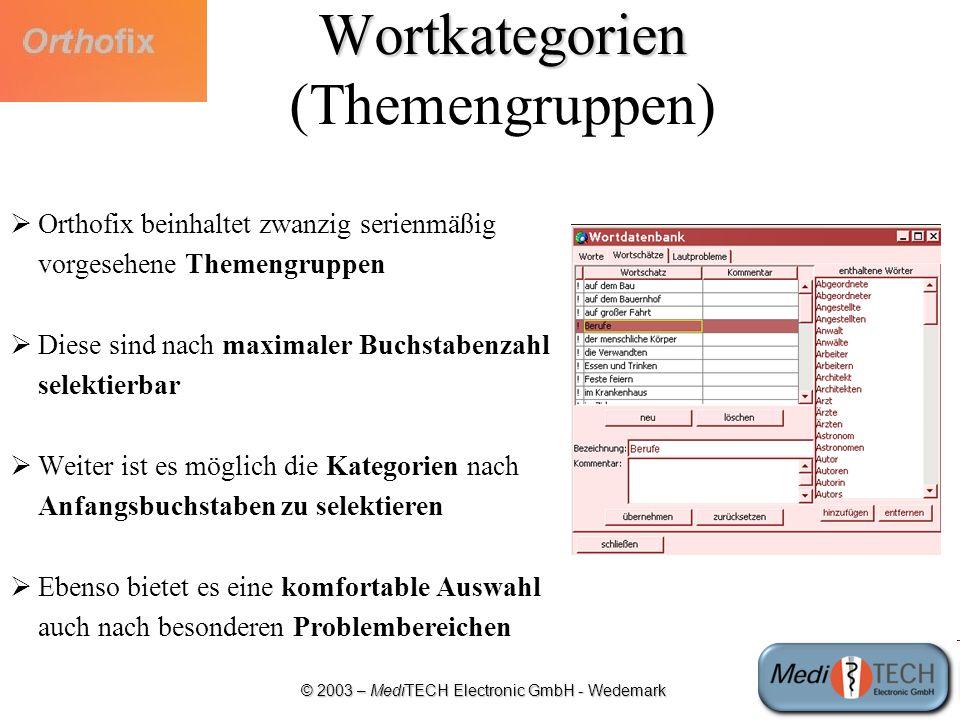 Wortkategorien (Themengruppen)