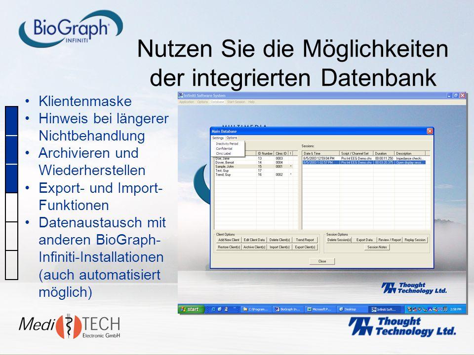 Nutzen Sie die Möglichkeiten der integrierten Datenbank