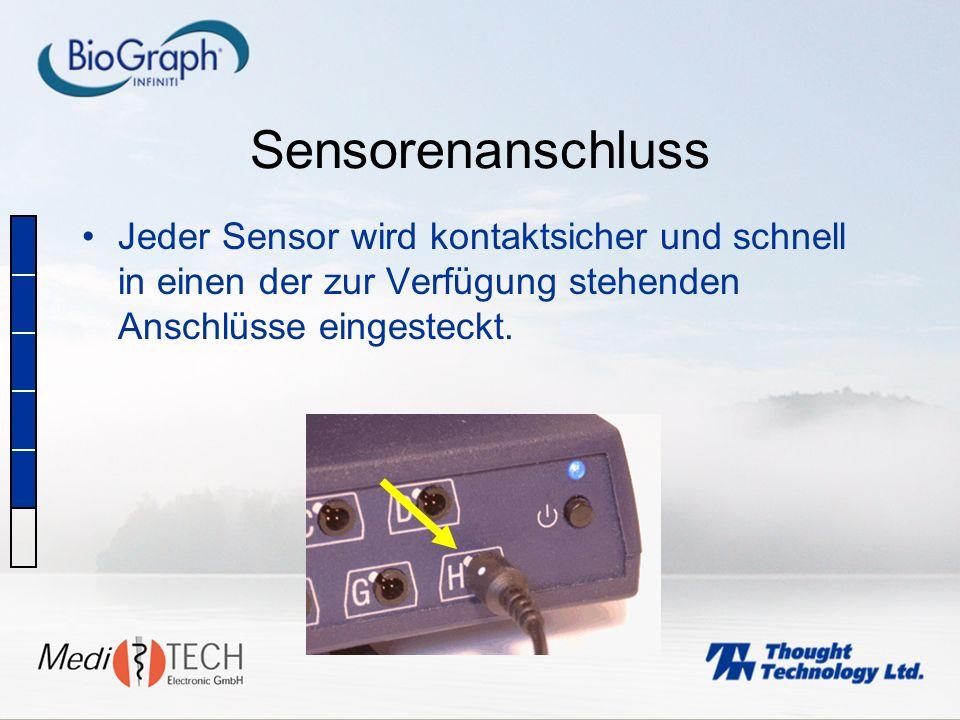Sensorenanschluss Jeder Sensor wird kontaktsicher und schnell in einen der zur Verfügung stehenden Anschlüsse eingesteckt.
