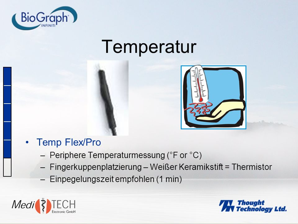 Temperatur Temp Flex/Pro Periphere Temperaturmessung (°F or °C)