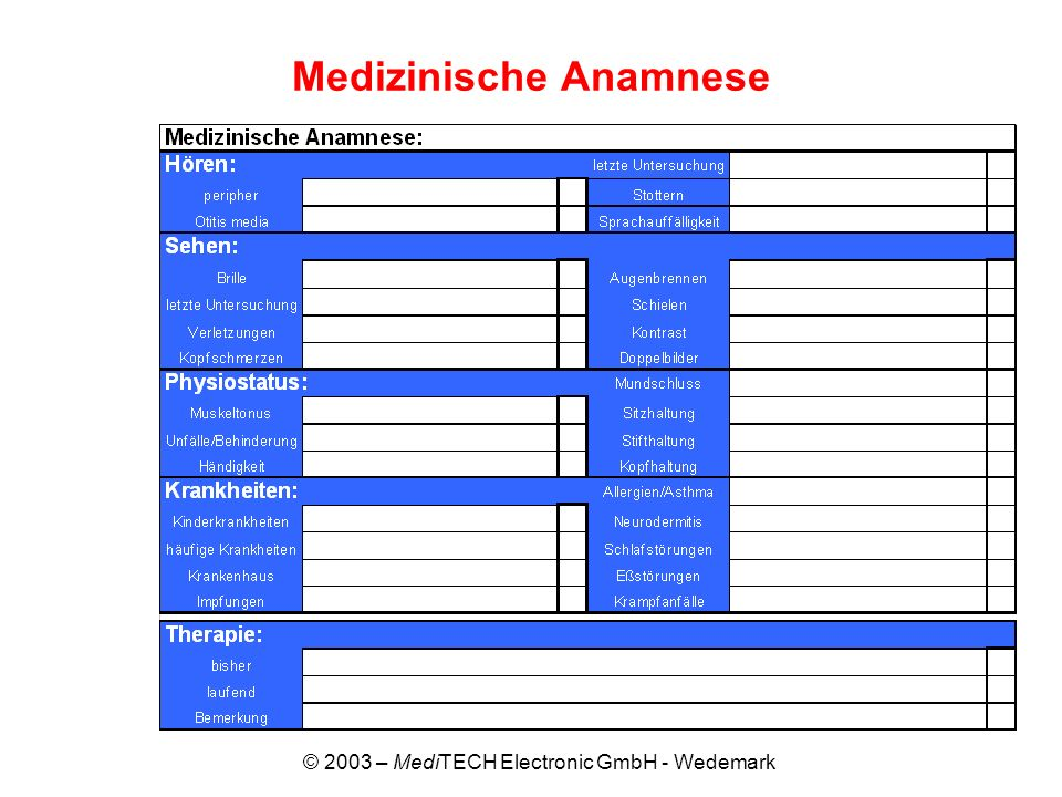 Medizinische Anamnese