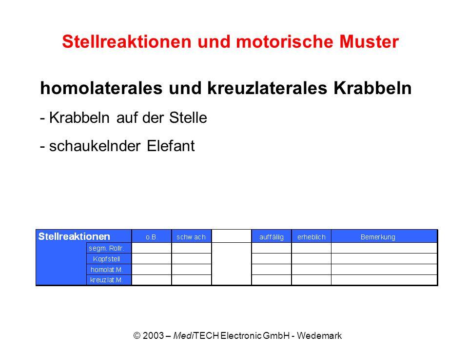 Stellreaktionen und motorische Muster