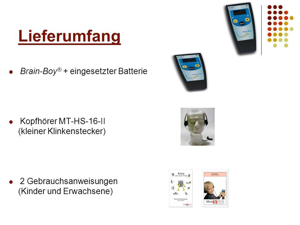 Lieferumfang Brain-Boy® + eingesetzter Batterie Kopfhörer MT-HS-16-II