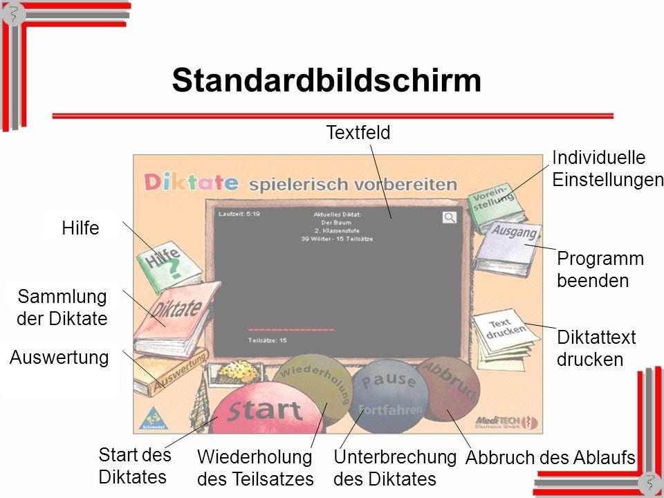 Standardbildschirm Textfeld Individuelle Einstellungen Hilfe