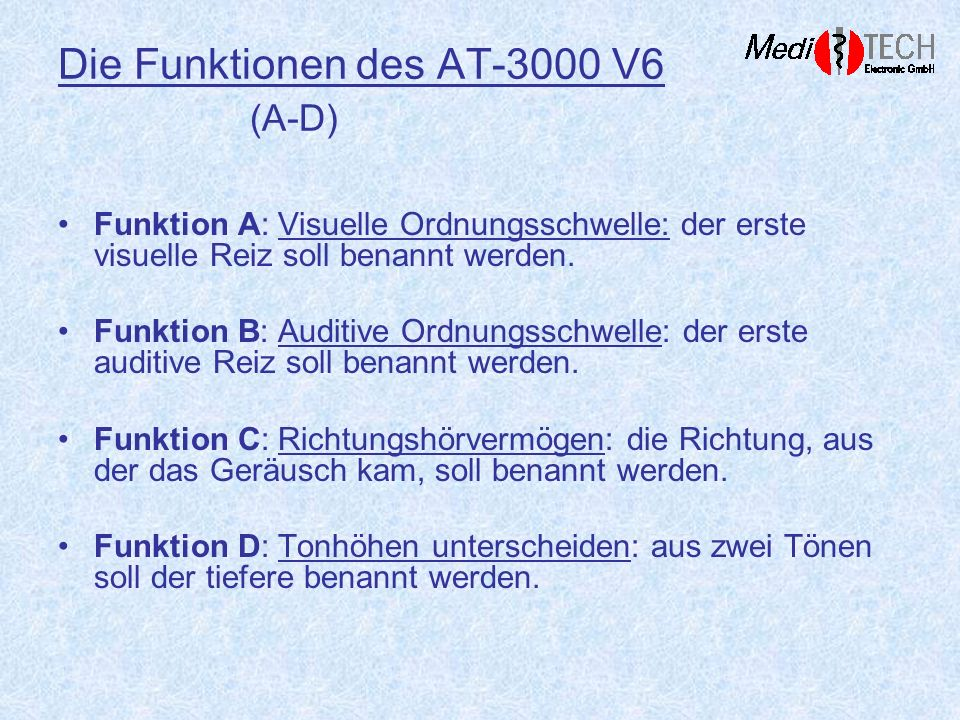 Die Funktionen des AT-3000 V6 (A-D)