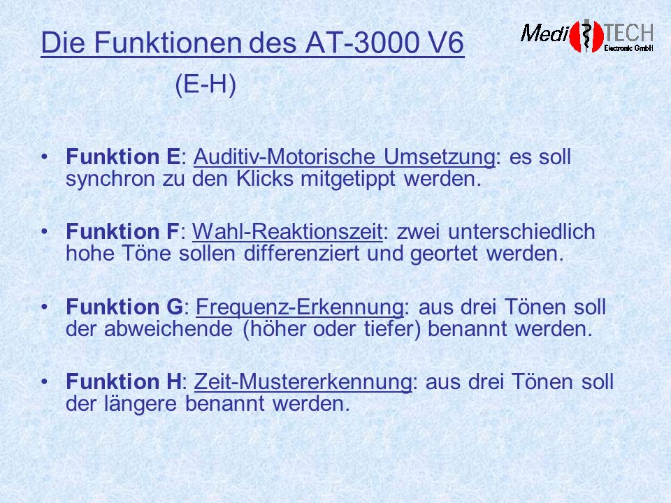 Die Funktionen des AT-3000 V6 (E-H)