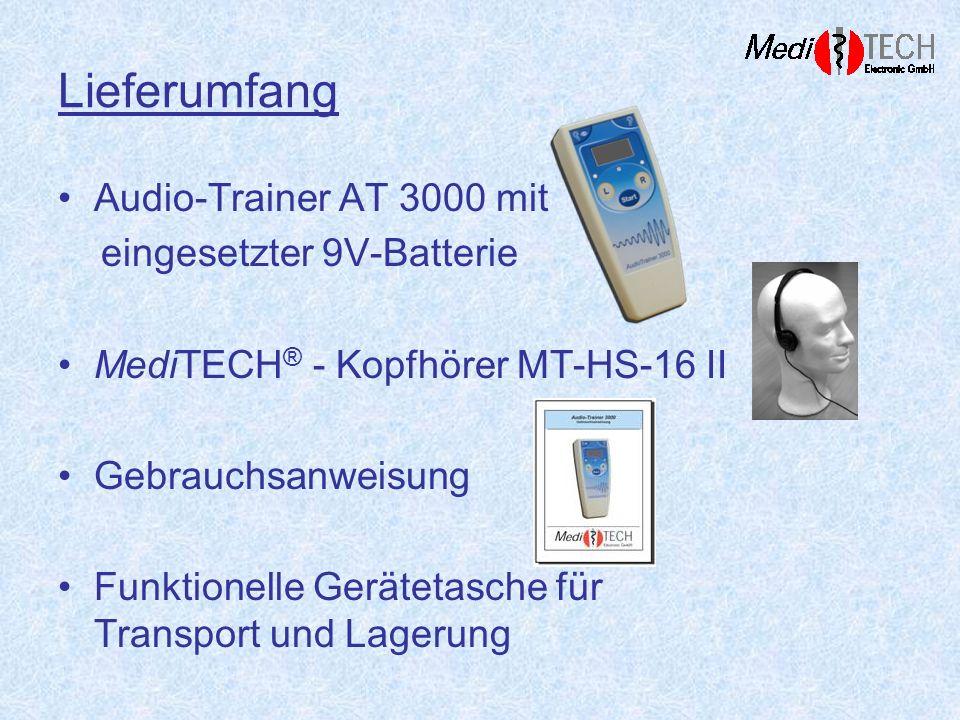 Lieferumfang Audio-Trainer AT 3000 mit eingesetzter 9V-Batterie