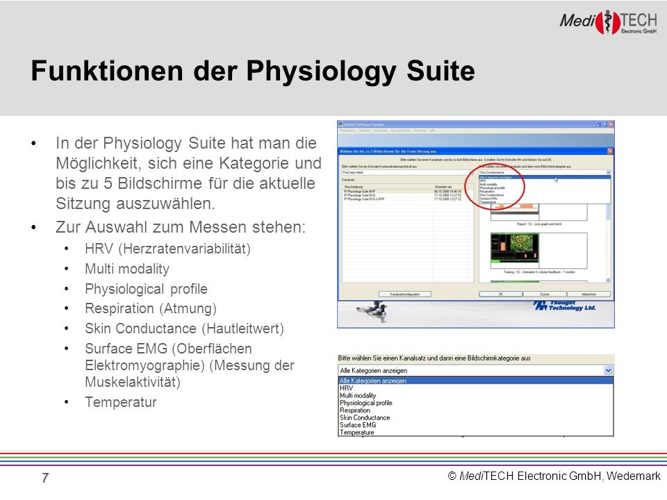 Funktionen der Physiology Suite