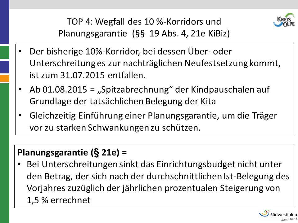TOP 4: Wegfall des 10 %-Korridors und Planungsgarantie (§§ 19 Abs