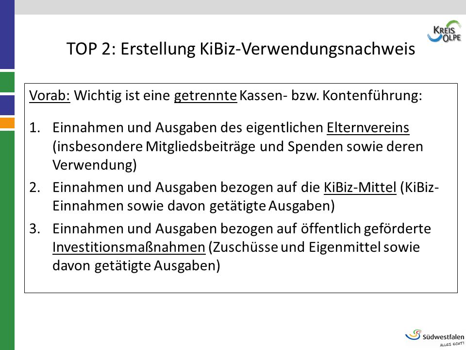 TOP 2: Erstellung KiBiz-Verwendungsnachweis