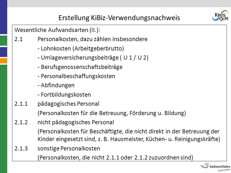 Erstellung KiBiz-Verwendungsnachweis