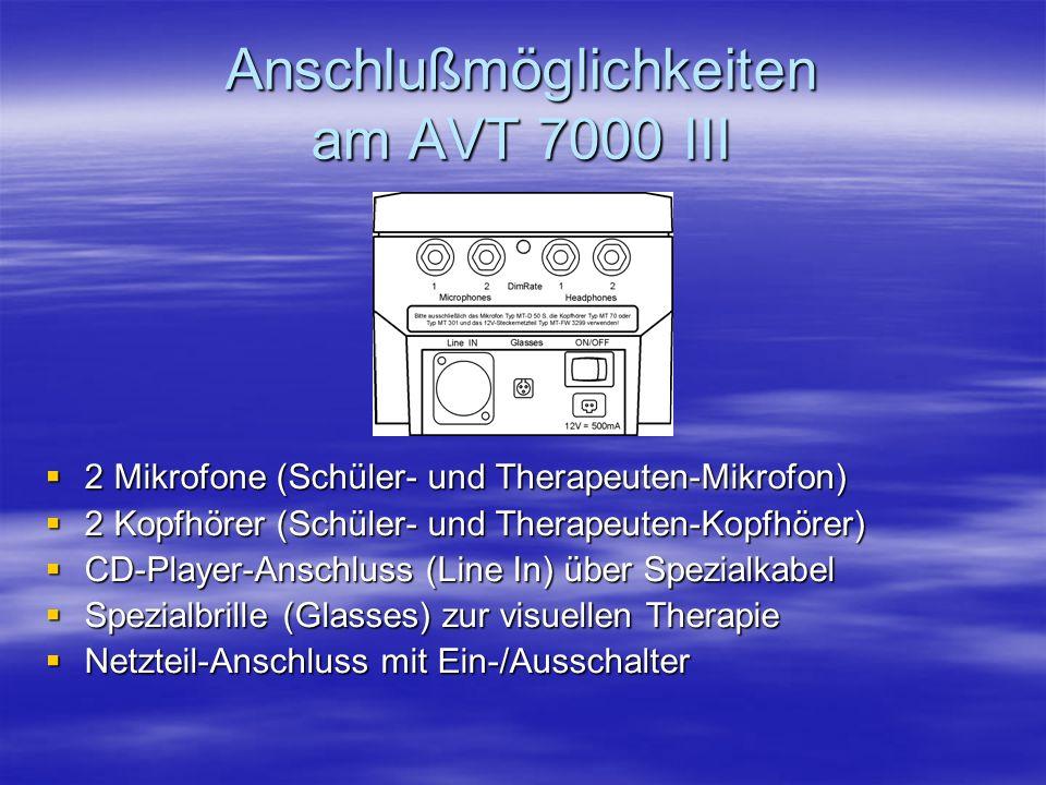 Anschlußmöglichkeiten am AVT 7000 III