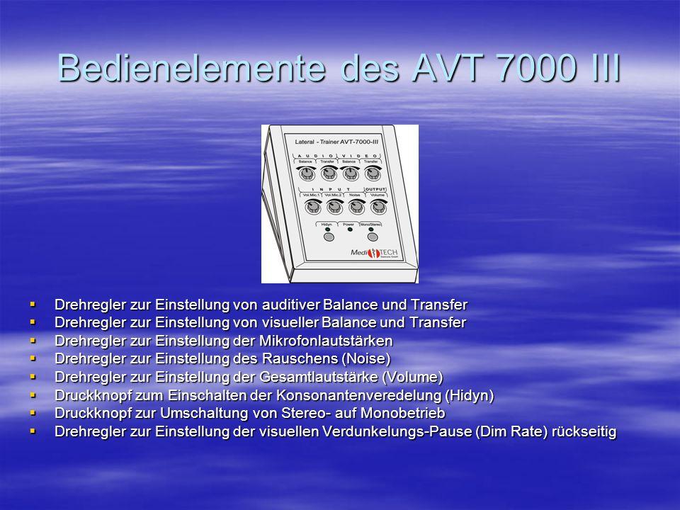 Bedienelemente des AVT 7000 III