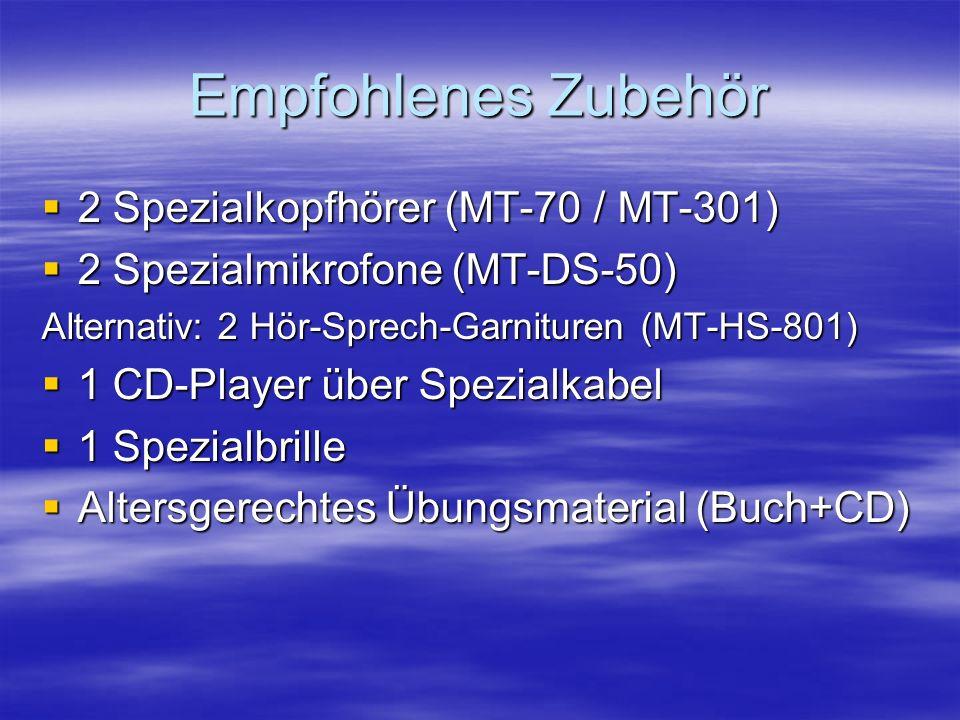 Empfohlenes Zubehör 2 Spezialkopfhörer (MT-70 / MT-301)