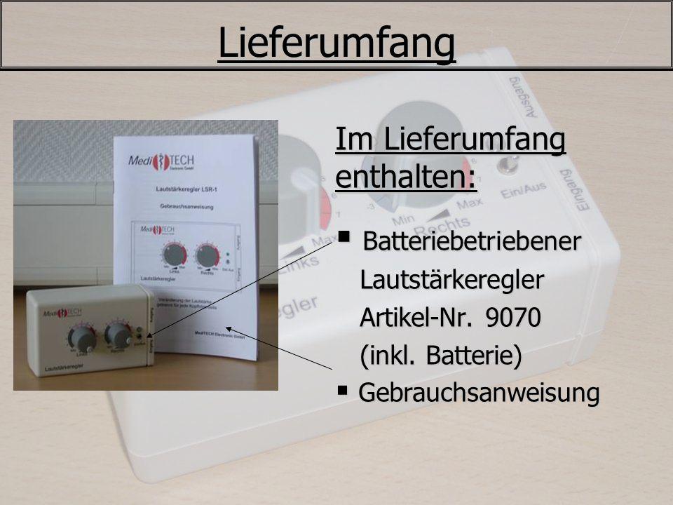 Lieferumfang Im Lieferumfang enthalten: Batteriebetriebener