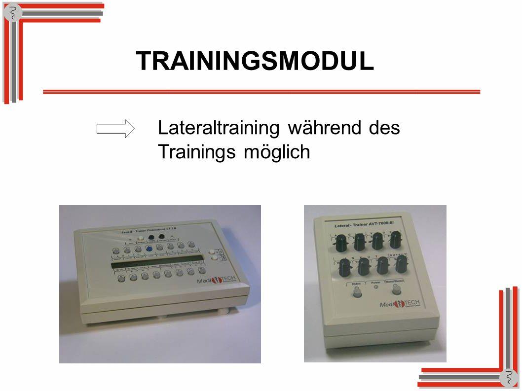 TRAININGSMODUL Lateraltraining während des Trainings möglich