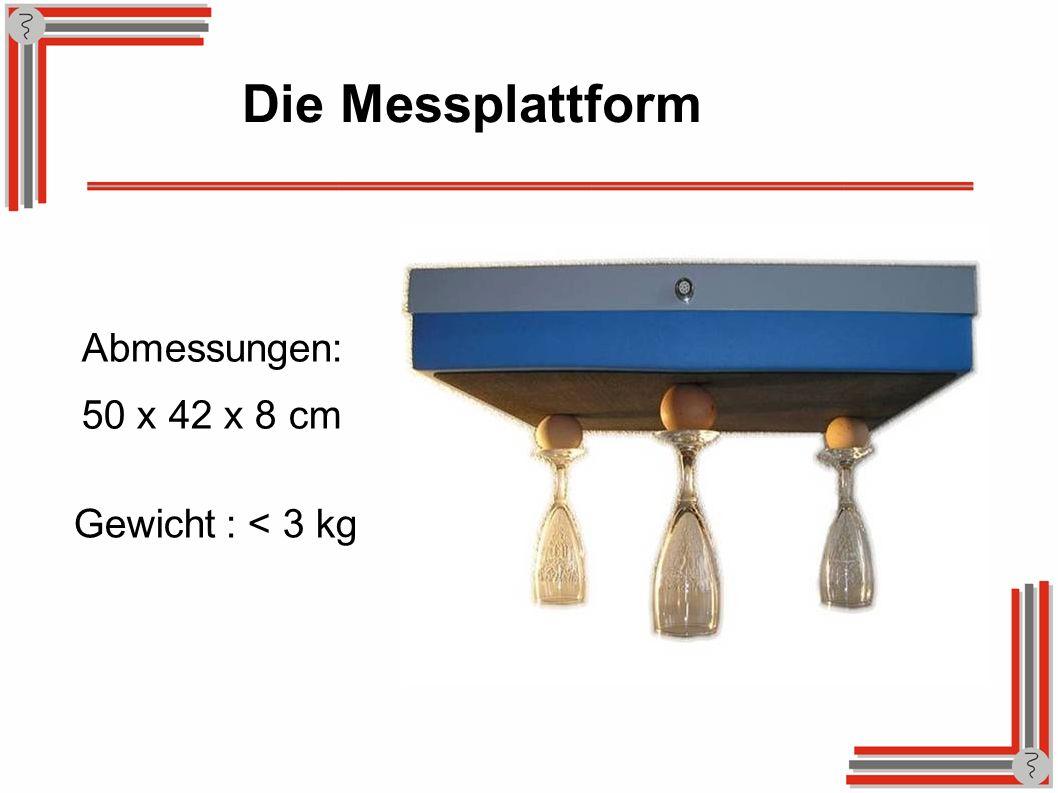 Die Messplattform Abmessungen: 50 x 42 x 8 cm Gewicht : < 3 kg
