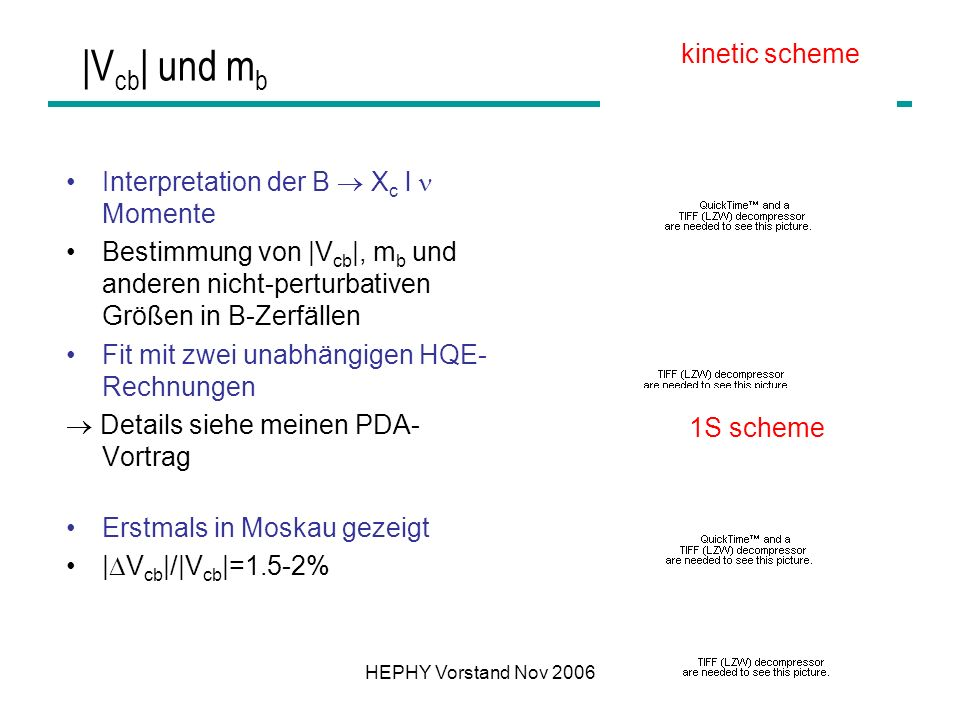 |Vcb| und mb kinetic scheme Interpretation der B  Xc l  Momente