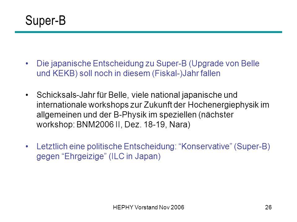 Super-B Die japanische Entscheidung zu Super-B (Upgrade von Belle und KEKB) soll noch in diesem (Fiskal-)Jahr fallen.