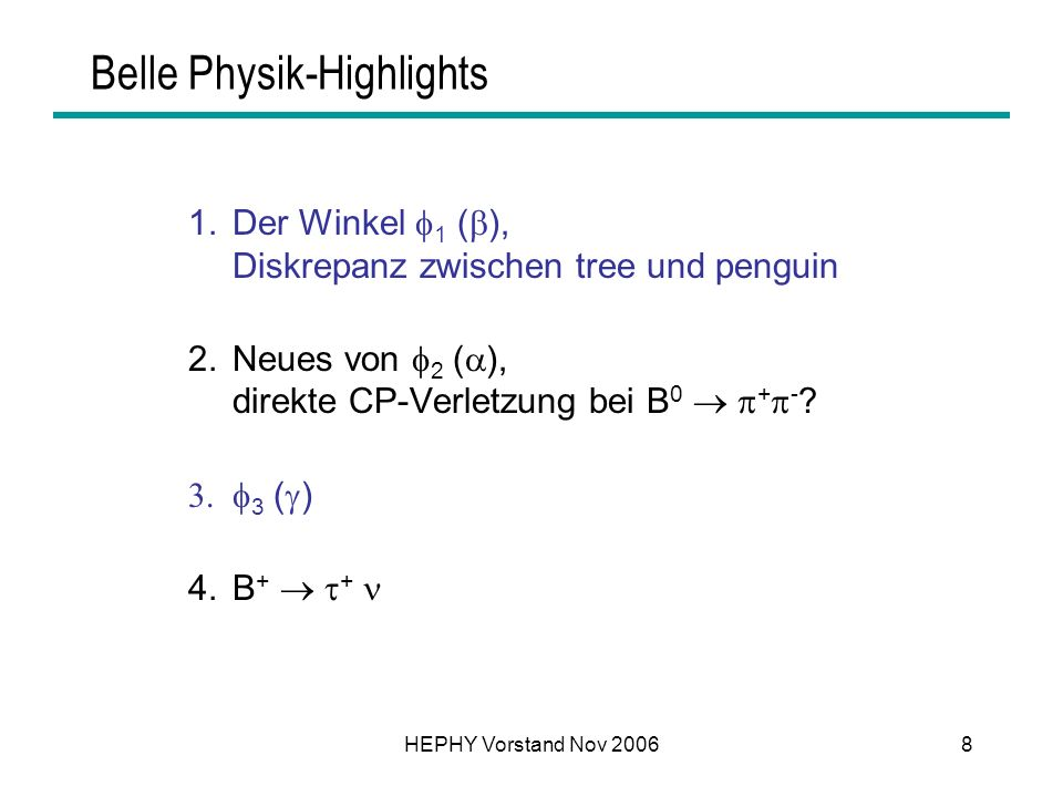 Belle Physik-Highlights