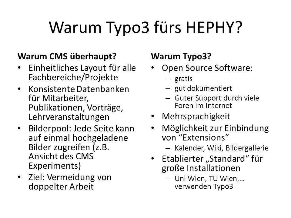 Warum Typo3 fürs HEPHY Warum CMS überhaupt