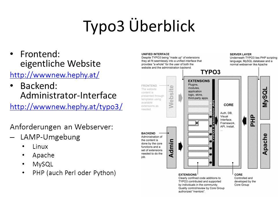 Typo3 Überblick Frontend: eigentliche Website