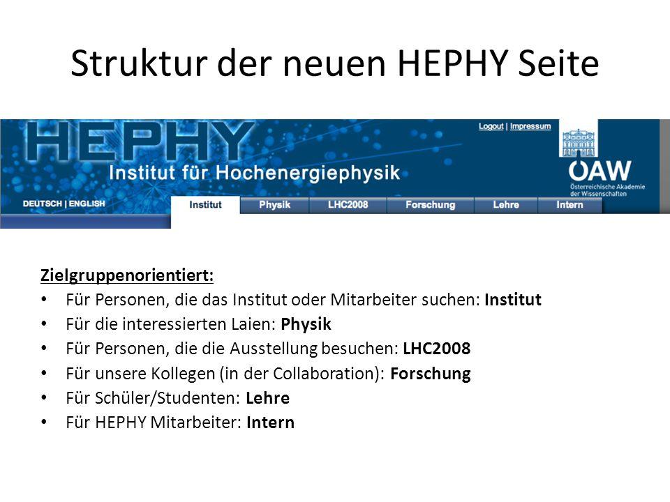Struktur der neuen HEPHY Seite