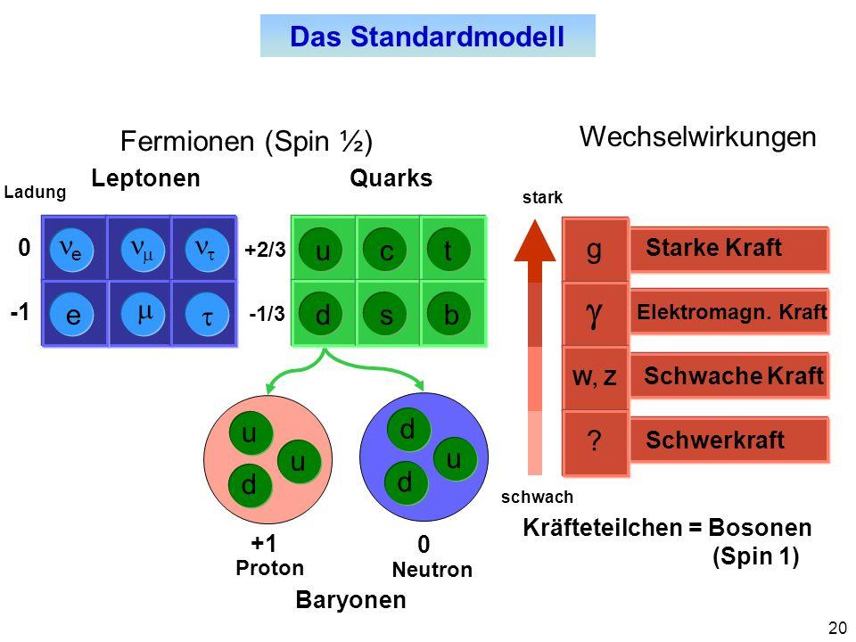 g Das Standardmodell Fermionen (Spin ½) Wechselwirkungen ne nm nt u