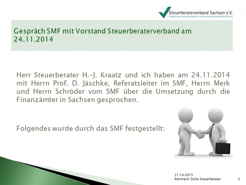 Gespräch SMF mit Vorstand Steuerberaterverband am 24.11.2014