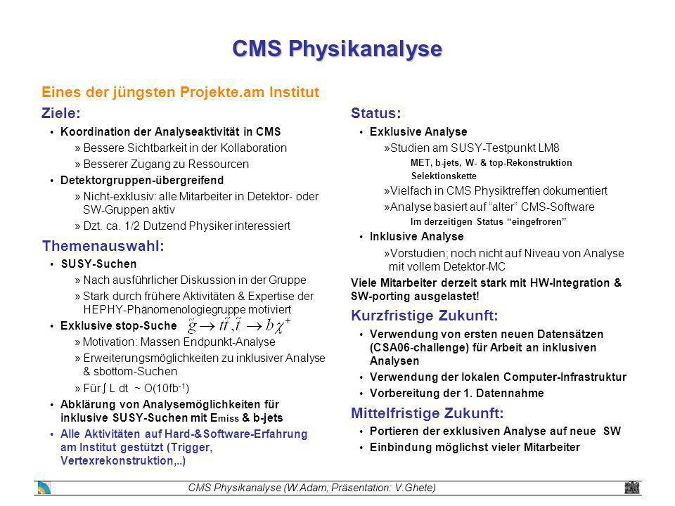 CMS Physikanalyse Eines der jüngsten Projekte.am Institut Ziele: