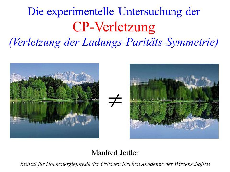 Die experimentelle Untersuchung der CP-Verletzung (Verletzung der Ladungs-Paritäts-Symmetrie)