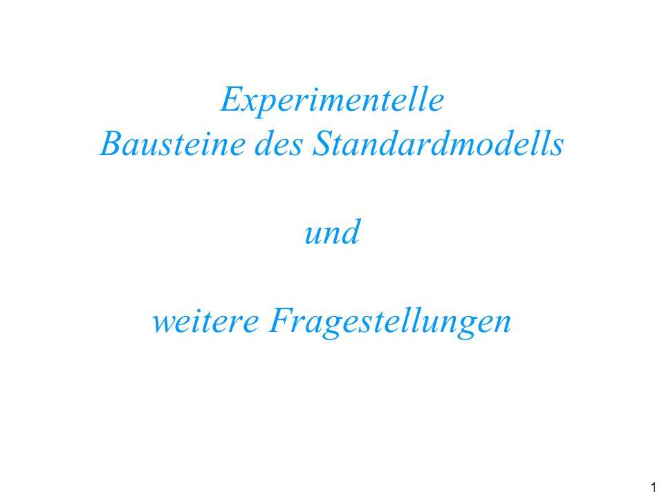 Experimentelle Bausteine des Standardmodells und weitere Fragestellungen