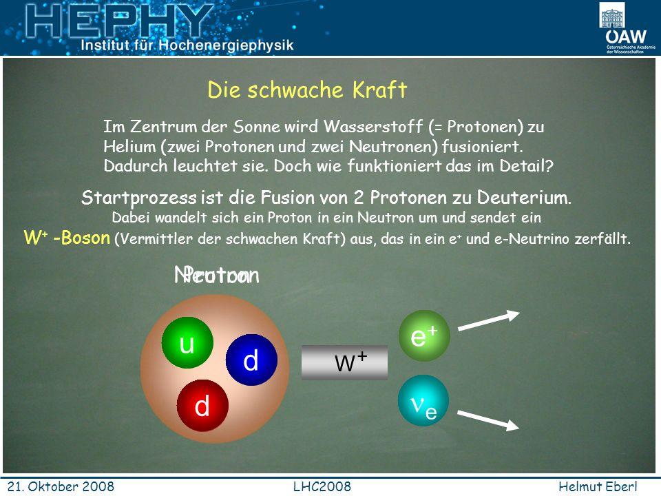 d u d u e+ ne Die schwache Kraft Neutron Proton W+