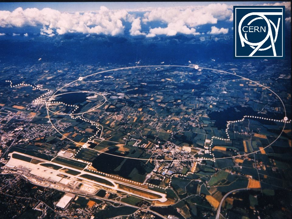 Wegen des großen Platzbedarfes moderner Beschleuniger werden diese meist unterirdisch errichtet, so wie die großen Beschleuniger am CERN in Genf (im Vordergrund der Flughafen Genf, im Hintergrund das Juragebirge).