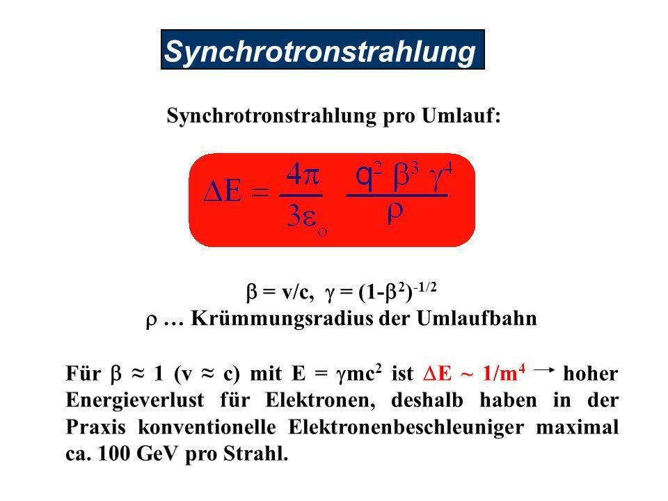 Synchrotronstrahlung pro Umlauf: r … Krümmungsradius der Umlaufbahn