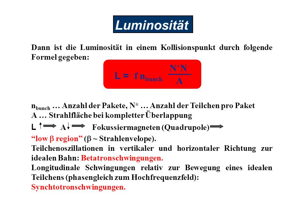 Luminosität N+N- L = f nbunch A