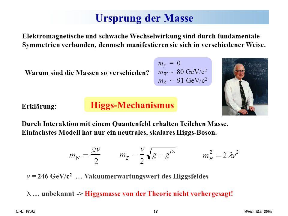Ursprung der Masse Higgs-Mechanismus