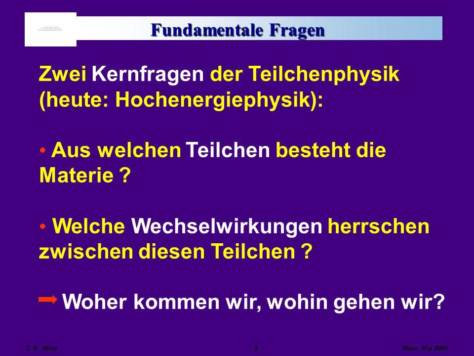 Zwei Kernfragen der Teilchenphysik (heute: Hochenergiephysik):