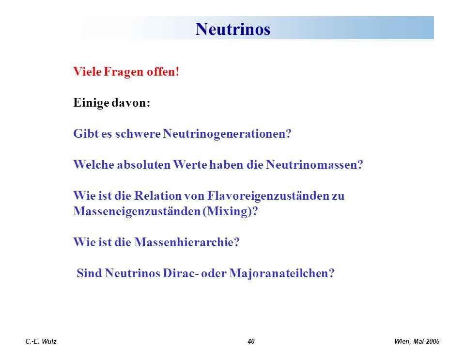 Neutrinos Viele Fragen offen! Einige davon: