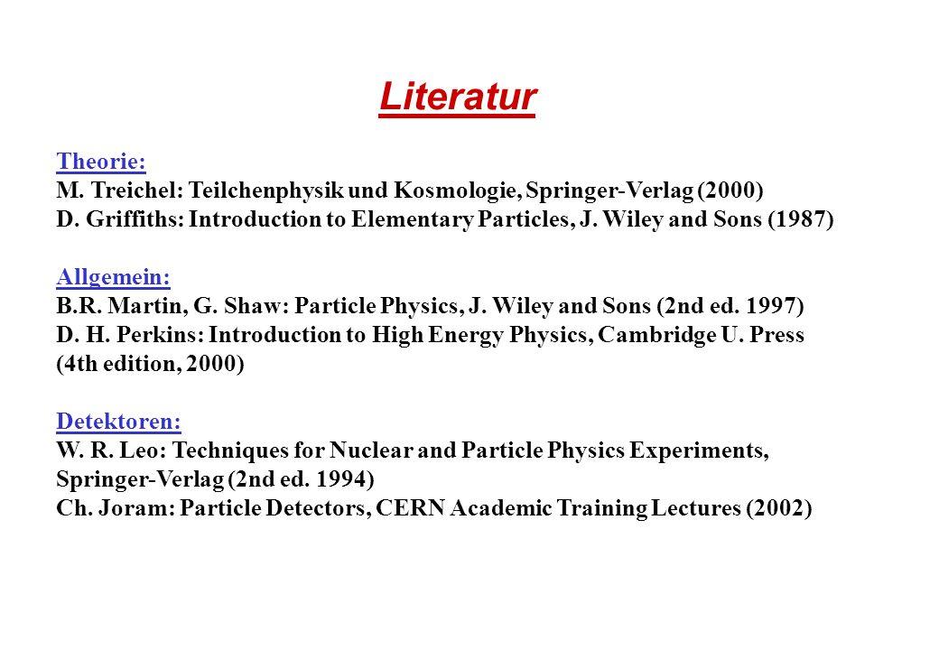 Literatur Theorie: M. Treichel: Teilchenphysik und Kosmologie, Springer-Verlag (2000)