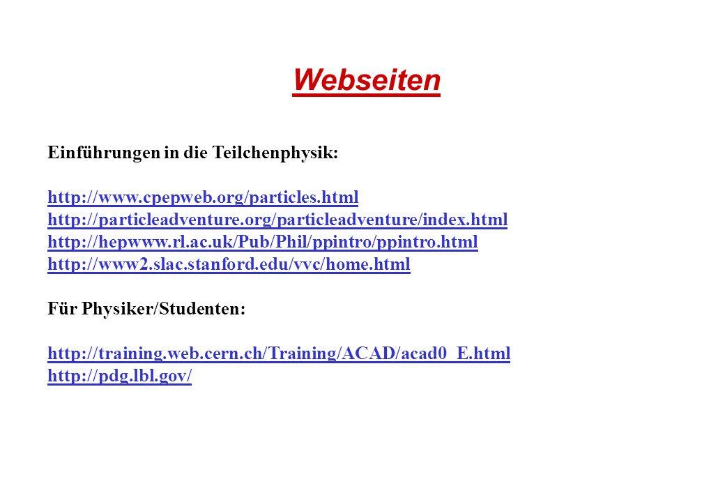 Webseiten Einführungen in die Teilchenphysik: