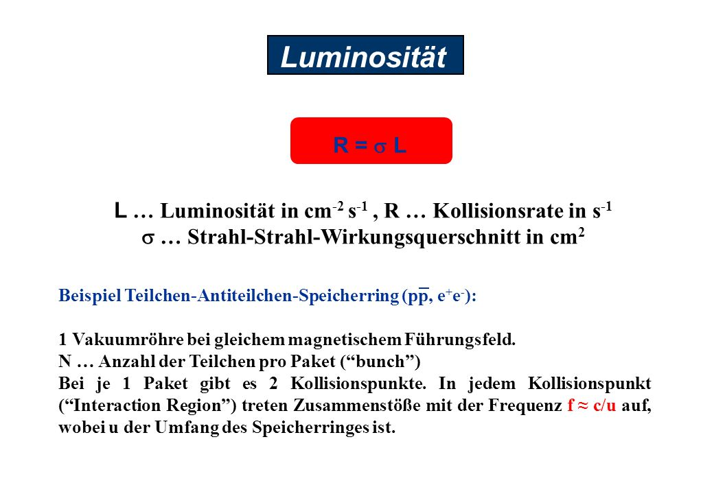 Luminosität L … Luminosität in cm-2 s-1 , R … Kollisionsrate in s-1. s … Strahl-Strahl-Wirkungsquerschnitt in cm2.