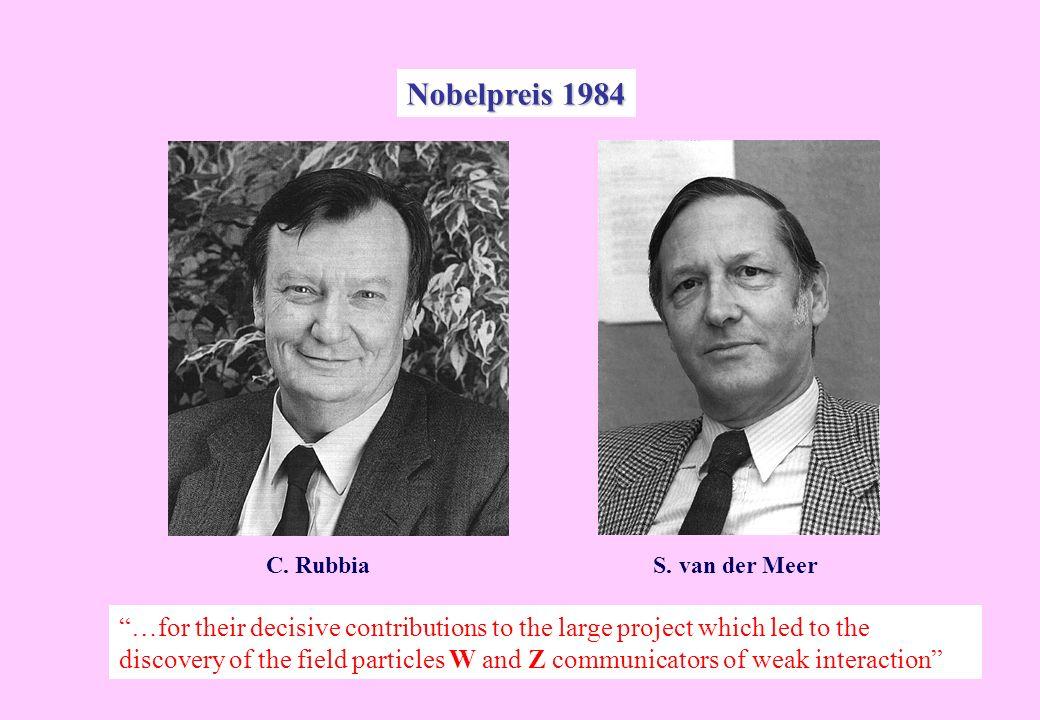 Nobelpreis 1984 C. Rubbia S. van der Meer.