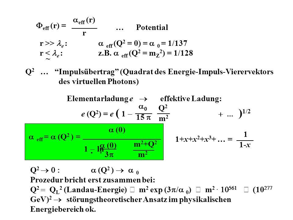 Feff (r) = eff (r) ______. r. … Potential. r >> le : eff (Q2 = 0) = 0 = 1/137. r < le : z.B. eff (Q2 = mZ2) = 1/128.