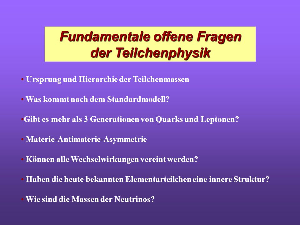 Fundamentale offene Fragen der Teilchenphysik
