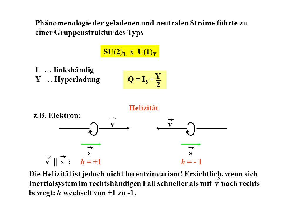 Phänomenologie der geladenen und neutralen Ströme führte zu einer Gruppenstruktur des Typs