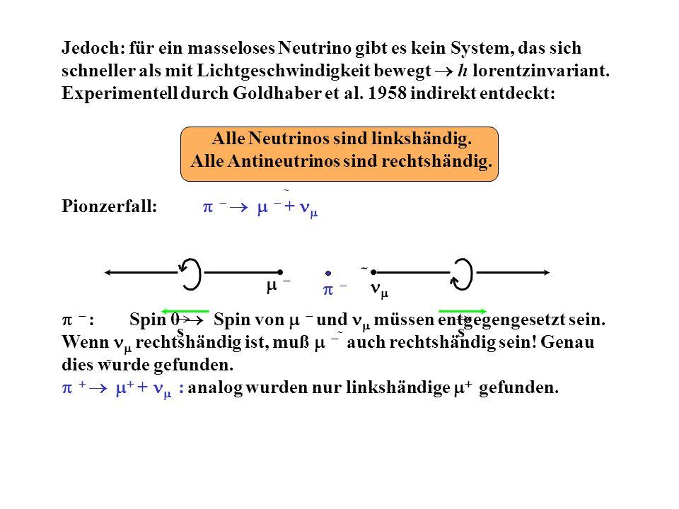 Alle Neutrinos sind linkshändig. Alle Antineutrinos sind rechtshändig.