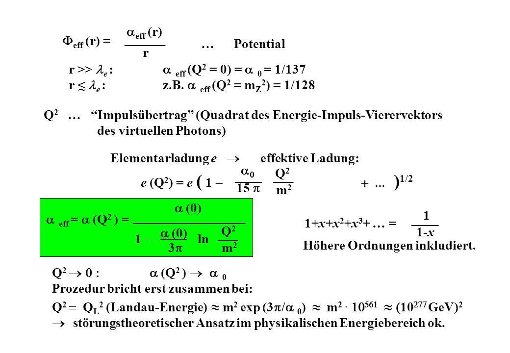 r >> le : eff (Q2 = 0) = 0 = 1/137
